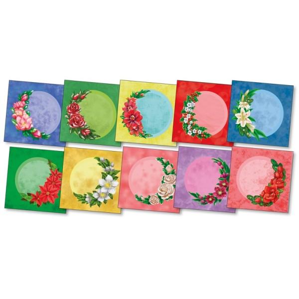 """3-D Grußkarten """"Winterblumen im Halbkreis"""", inkl. Umschläge, 30-teilig"""