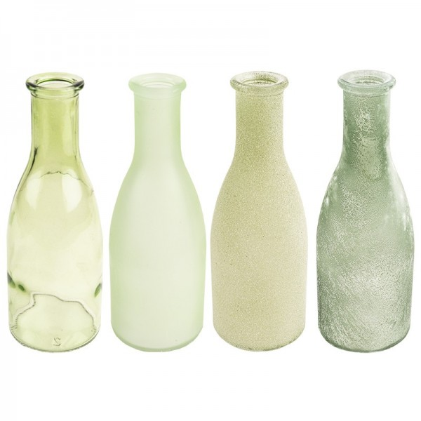 Deko-Flaschen, Ø 6cm, 18cm, grün, 4 Stück