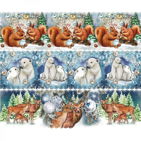 Zauberfolien, Weihnachts-Tiere, Schrumpffolien für Ø 12cm, 11cm hoch, 6 Stück