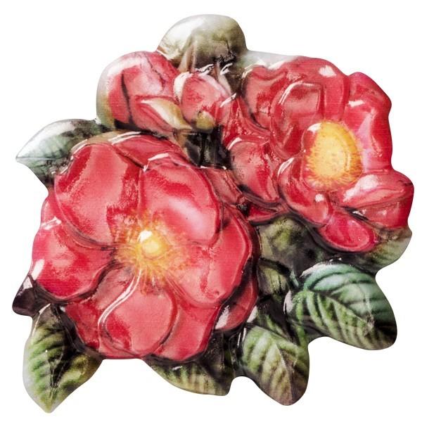 Wachsornament Elite-Rosen 3, farbig, geprägt, 7cm