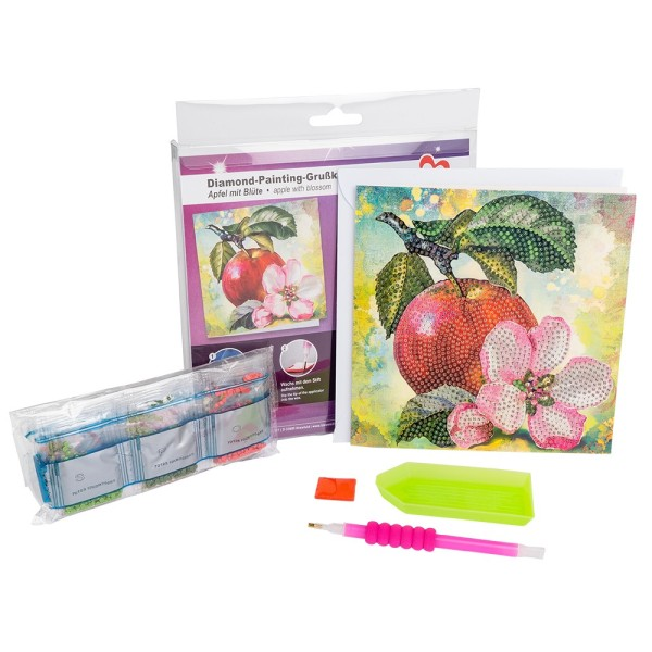 Diamond-Painting-Grußkarte, Apfel mit Blüte, 16cm x 16cm, 370g/m², inkl. Umschlag & Werkzeug