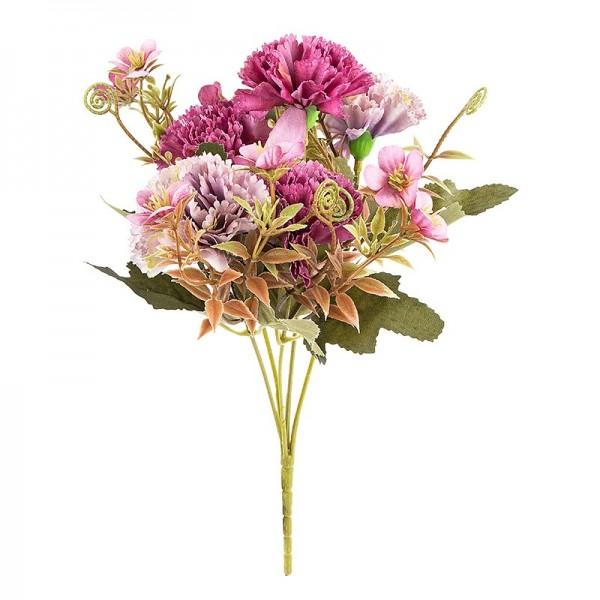 Blütenbusch, Nelken 2, 28cm hoch, 5 große Blüten Ø 4,5cm, Beerentöne