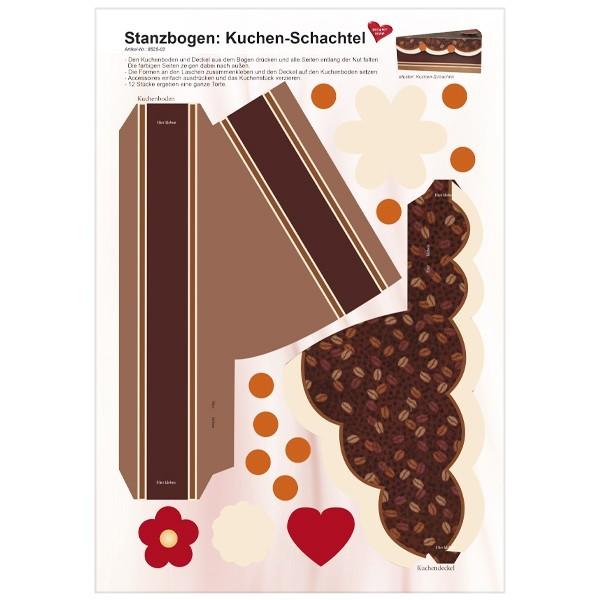 Stanzbogen, Kuchen-Schachtel, DIN A4, Design 2
