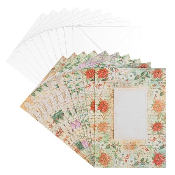 Motiv-Grußkarten, Winter-Floristik, B6, 230 g/m³, 5 Designs, inkl. weißen Umschlägen, 10 Stück