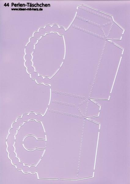 """Design-Schablone Nr. 44 """"Perlen-Täschchen"""", DIN A4"""