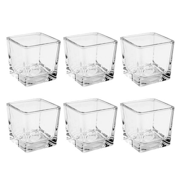 Teelichthalter Würfel, 6cm x 6cm x 6cm, Glas, transparent, klar, 6 Stück