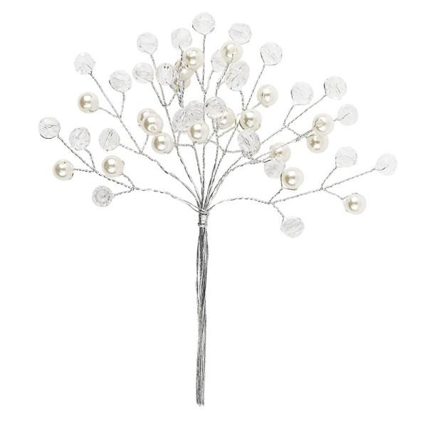 Deko-Kristall-&Perlenzweige, Kugel, 14cm, transparent klar, perlmutt natur, 10 Stück