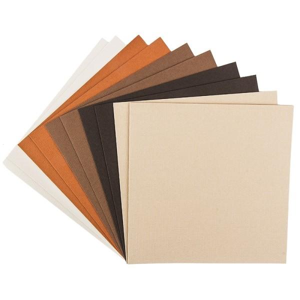 """Grußkarten """"Anna"""" in Leinen-Optik, 16x16cm, 5 Farben, Creme-/Brauntöne, inkl. Umschläge, 10 Stück"""