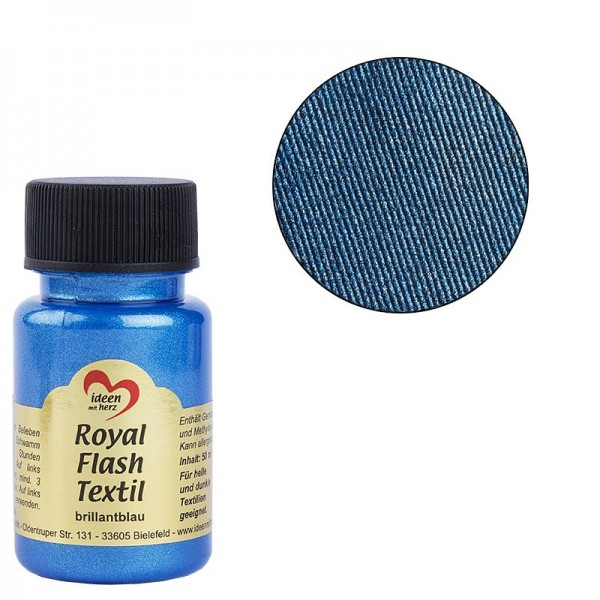 Royal Flash Textil, Glitzer-Metallic-Farbe, 50 ml, brillantblau