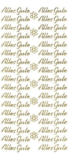 Sticker, Schrift, Alles Gute in gold