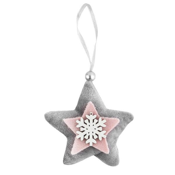 3-D Plüsch-Sterne, Plüsch-Sterne, Filz-Sterne & Holz-Eiskristalle, 15-teilig