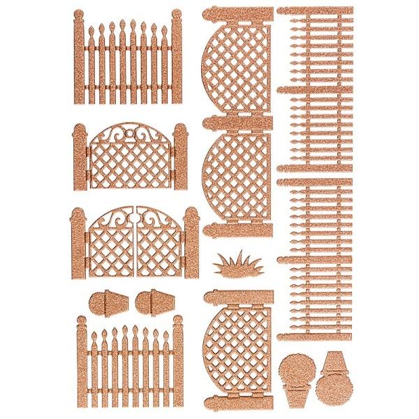 """3-D Sticker """"Deluxe Zäune & Tore"""", verschiedene Größen, selbstklebend, kupfer"""