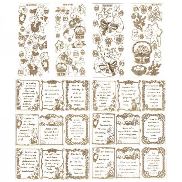 Gravur-Sticker, Frühjahr und Ostern, 10 Bogen