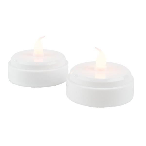 LED-Teelichter, Ø 6,5cm, 5cm hoch, weiß, mit warmem Flackereffekt, 2 Stück