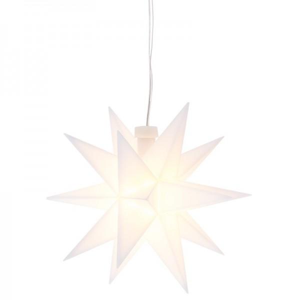 3-D LED-Stern, weiß, Ø 12cm, Kabellänge: 1,5m, mit 18 Strahlen, 2 LED-Lichtern in Warmweiß, Timer