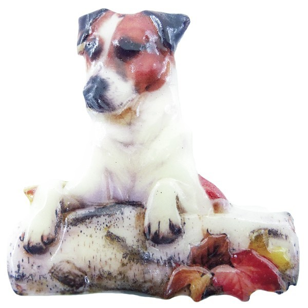 Wachsornament Hunde 5, farbig, geprägt, 7cm