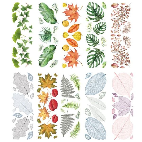 Transparent-Stickerbogen, Blätter, verschiedene Designs, 10cm x 30cm, 10 Bogen