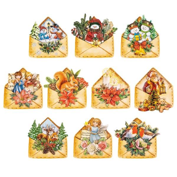 3-D Motive, Weihnachtspost, 7,5-9,5cm, 10 Motive