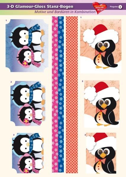 3-D GlamourGloss Bogen, Pinguine, DIN A4, Motiv 3