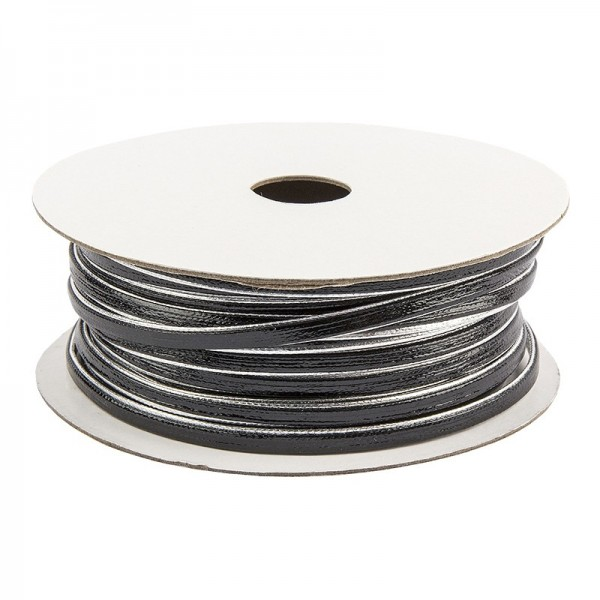 Deko-Band, 5m lang, 0,2cm breit, schwarz mit silbernem Rand