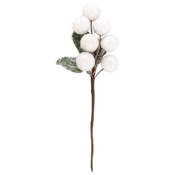 Deko-Zweige, Schneebälle, 15cm lang, 4 Stück