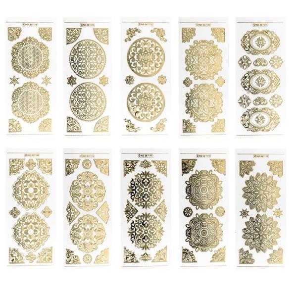 Gravur-Stickerbogen, Zier-Ornamente, 10cm x 23cm, transparent/gold