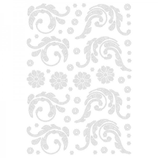 Bügelstrass-Design, DIN A4, klar, Blatt-Ornamente