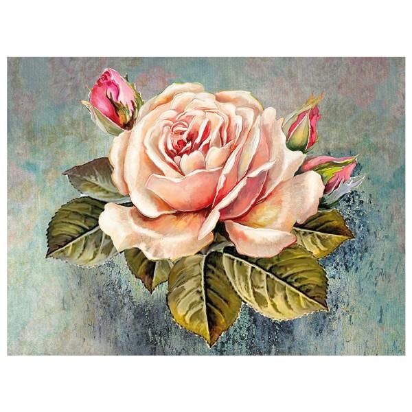 Diamond Painting, Rose mit Knospen 1, 35cm x 25cm, Motivleinwand, runde Steinchen, inkl. Werkzeug