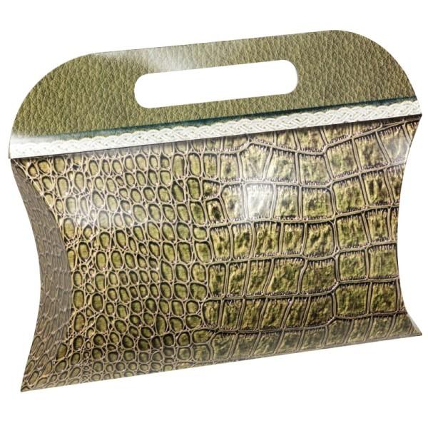 Geschenktasche Lederoptik, 16 x 20 x 4 cm, grün