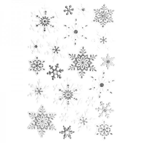 Glimmer-Relief-Sticker, Eiskristalle, 21cm x 14cm