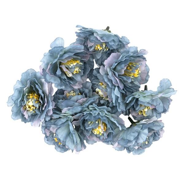 """Deko-Blüten """"Kamelie"""", Ø 6cm, blau, 10 Stück"""