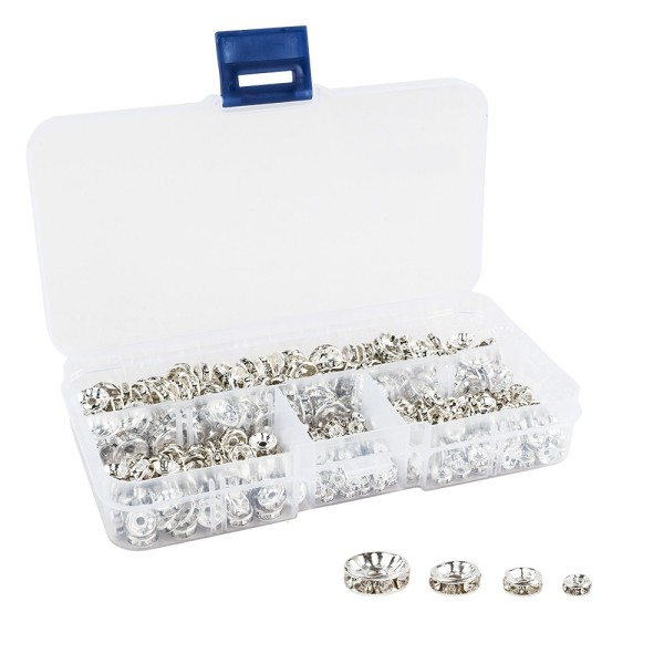 Strass-Rondelle in praktischer Box, 4 Größen, silber, 400 Stück