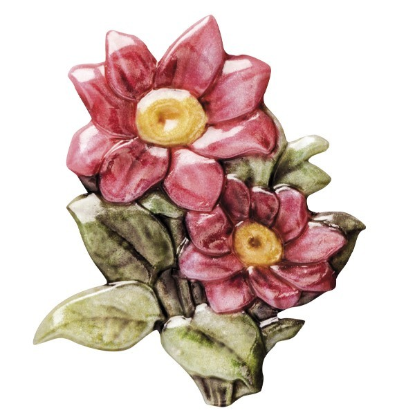 "Wachsornament ""Blüten de luxe"" 6, farbig, geprägt, 6-7cm"