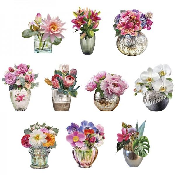 3-D Motive, Stilvolle Blumenvasen, 6,5-9,5cm, 10 Motive