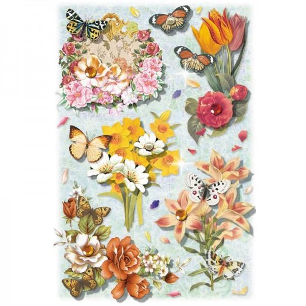 3-D Stickerbogen, Blumen auf Blau 3, 12,7 x 18,8 cm