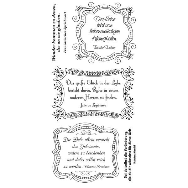 Feinkontur-Stempel, einzelne Motive auf Trägerfolie, Zitate mit Rahmen