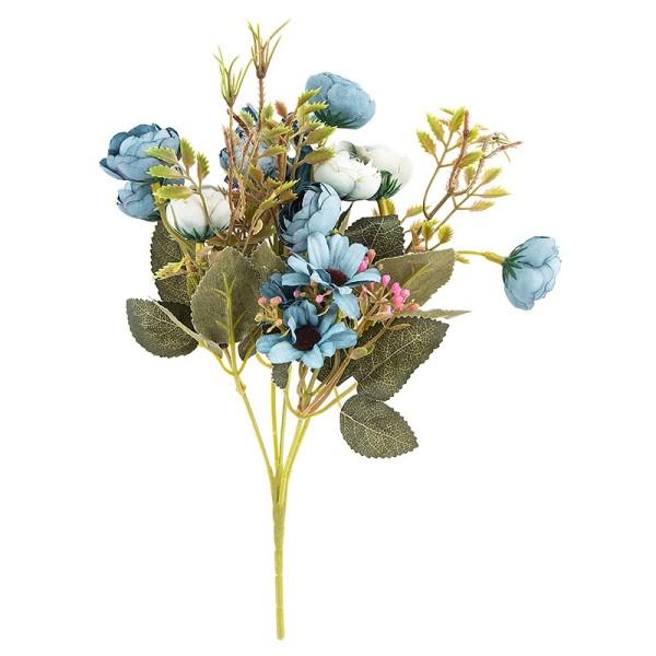 Blütenbusch, Rosen & Margeriten, 28cm hoch, 15 große Blüten Ø 2,5cm, Blautöne