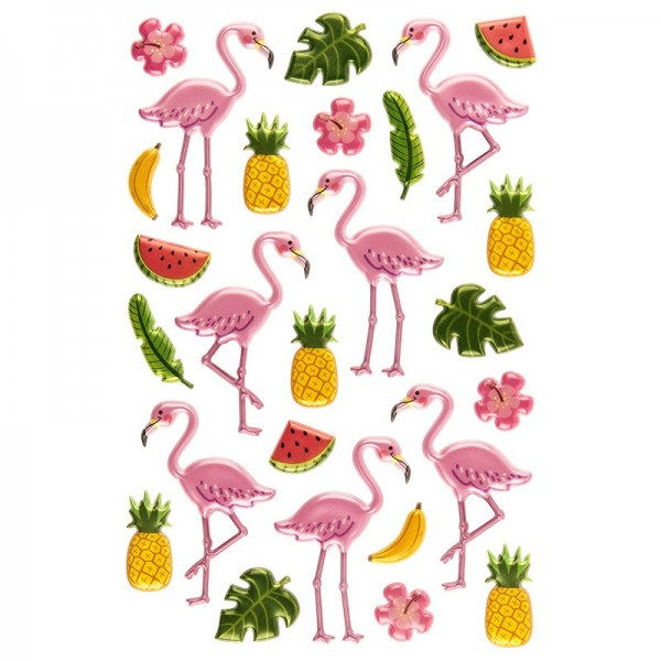 Relief-Sticker, Flamingos, 15cm x 10cm, 27 Sticker