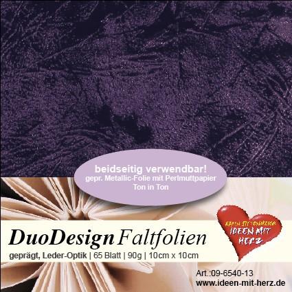 DuoDesign Faltfolien, Leder-Optik, 10cm x 10cm, 65 Blatt, aubergine
