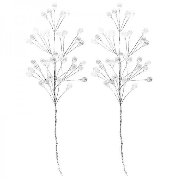 Deko-Kristallzweige 2 am Draht, 11-16cm, klar, 14 Stück