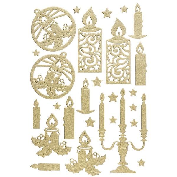 3-D Sticker, Deluxe Kerzen, verschiedene Größen, selbstklebend, gold