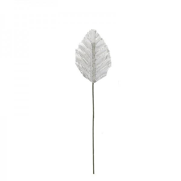 Deko-Blätter am Draht, 4cm x 2,5cm, silber, 20 Stück