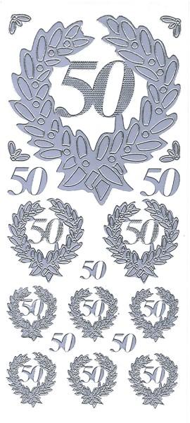 Sticker, Zahlen fürs Jubiläum 50, silber