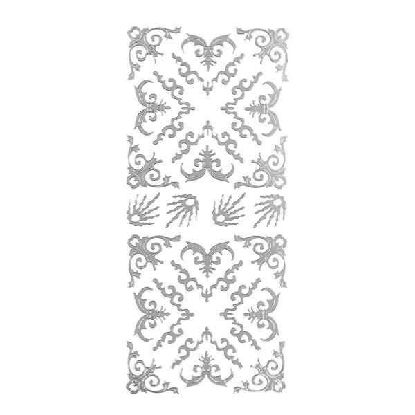 Sticker, Schnörckel-Ecken, Perlmuttfolie, silber