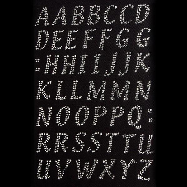 Bügelstrass-Design, DIN A4, Alphabet, anthrazit