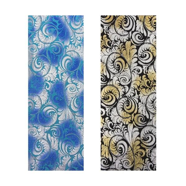 "Stoffe Royal ""Barock"", selbstklebend, 10 x 29 cm, 2 Stück, blau/silber/türkis & gold/silber/schwarz"