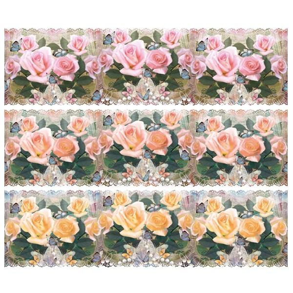 """Zauberfolien """"Rosentraum"""", Schrumpffolie für Ø 9cm, 8,5cm hoch, 6 Stück"""