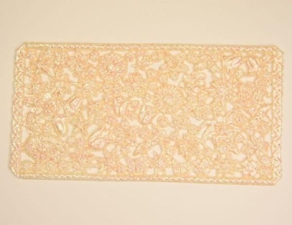 Wachsornament-Platte Blüten, ca. 16 x 8 cm, lachs mit Glimmer
