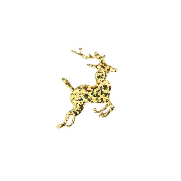 Applikation/Stanzteil Rentier, gold-irisierend, 30 mm, 100 Stück