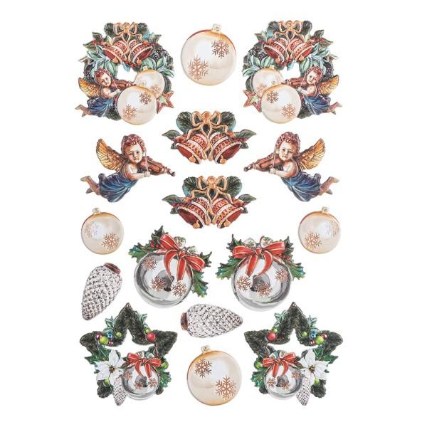 3-D Relief-Sticker, Weihnachts-Baumschmuck 4, verschiedene Größen, selbstklebend